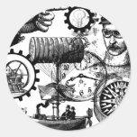 steampunk pegatina redonda