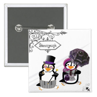 Steampunk Penguins Button