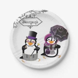 Steampunk Penguins Paper Plate