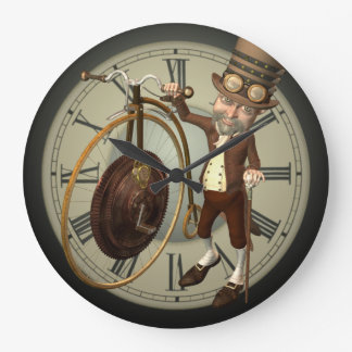 Steampunk Penny Farthing Large Clock