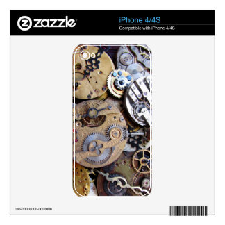 Steampunk phone skin - brass clockwork gears skin for the iPhone 4
