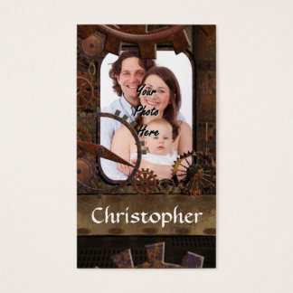Steampunk photo background business card