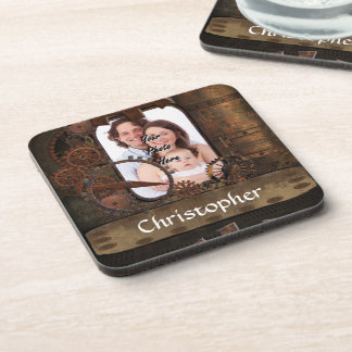 Steampunk photo background coaster