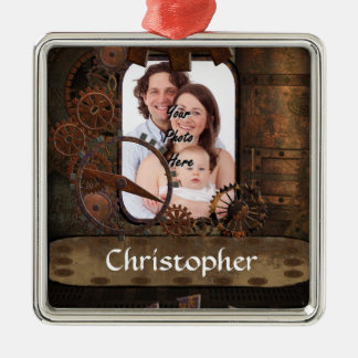 Steampunk photo background metal ornament