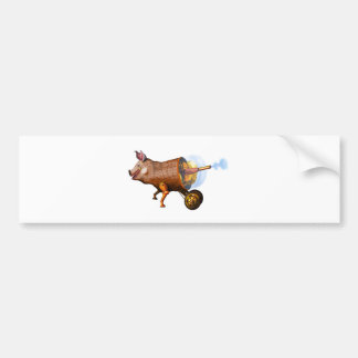 steampunk pig bumper sticker