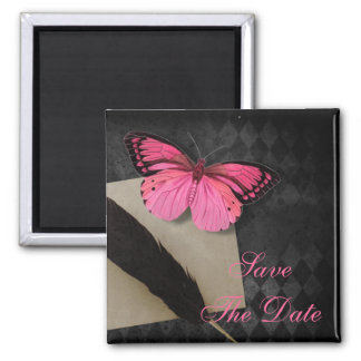 steampunk pink butterfly gothic wedding magnet