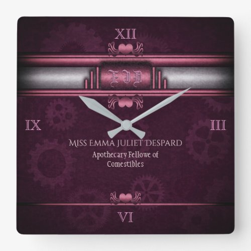 Steampunk, pink hearts and gears, Monogram Square Wall Clock