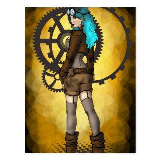 Steampunk Pinup Girl Postcard