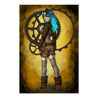 Steampunk Pinup Girl Poster