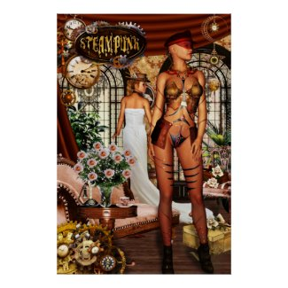 Steampunk Pinup Girls Poster Print