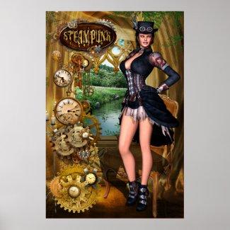 Steampunk Pinup Poster Print