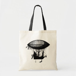 Steampunk pirate airship budget tote bag