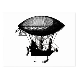 Steampunk pirate airship postcard