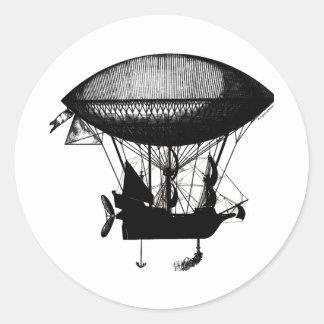 Steampunk pirate airship round sticker