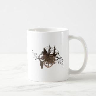 Steampunk pirate ship coffee mug
