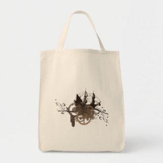Steampunk pirate ship grocery tote bag