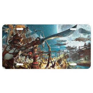 Steampunk Pirates License Plate