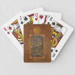 "Steampunk Playing Cards<br><div class=""desc"">steampunk, steampunk technology, cool steampunk, metal, copper, bronze, fool the eye, trompe l&#39;oeil, trompe l oiel, illusion, cool, trompe oeil, steampunk accessories, steampunk art, steampunk computer, gears, leather, vintage, victorian, cog</div>"