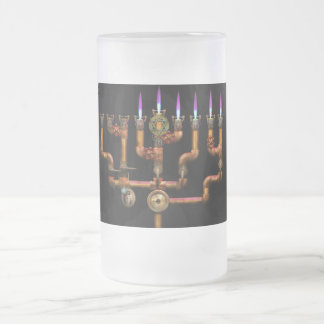 Steampunk - Plumbing - Lighting the Menorah Frosted Glass Beer Mug