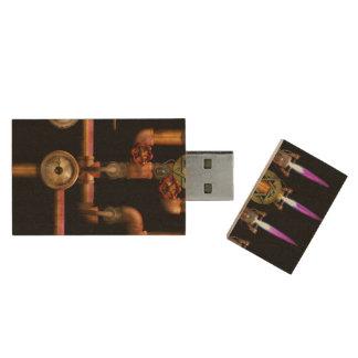 Steampunk - Plumbing - Lighting the Menorah Wood USB 2.0 Flash Drive