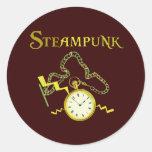 Steampunk Pocketwatch Etiquetas Redondas