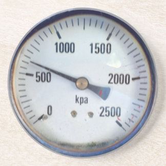Steampunk Pressure Gauge Sandstone Coaster