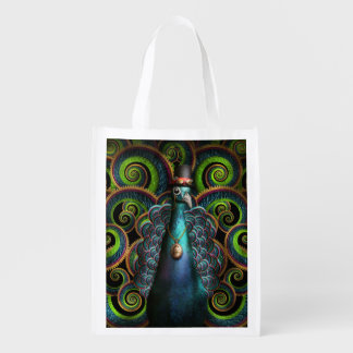 Steampunk - Pretty as a peacock Grocery Bags