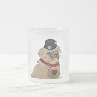 Steampunk Pug Frosted Glass Coffee Mug