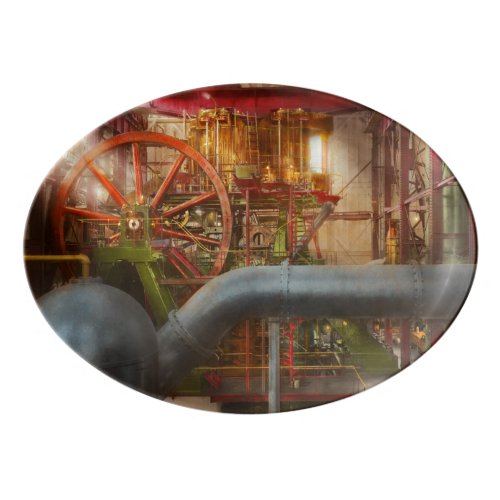 Steampunk - Pump - Wheel of progress 1906 Porcelain Serving Platter