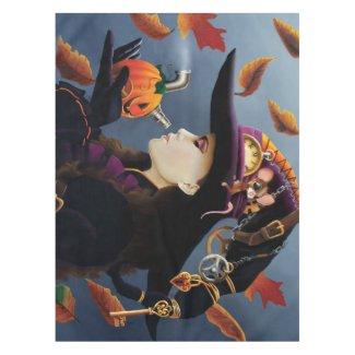 Steampunk Pumpkin Witch Tablecloth