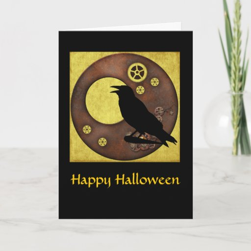 Steampunk Raven Halloween Greeting Card
