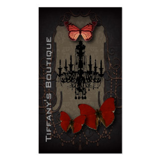 Steampunk red butterfly black chandelier business card