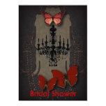 Steampunk red butterfly black chandelier card