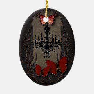 Steampunk red butterfly black chandelier ceramic ornament