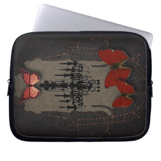 Steampunk red butterfly black chandelier computer sleeve