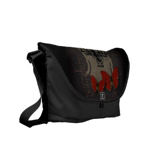 Steampunk red butterfly black chandelier courier bag
