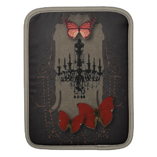Steampunk red butterfly black chandelier sleeve for iPads