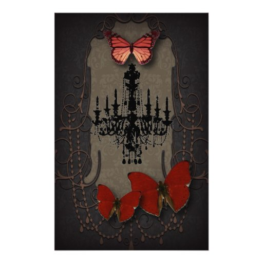 Steampunk red butterfly black chandelier stationery