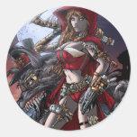 Steampunk Red Classic Round Sticker