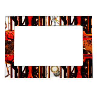 Steampunk red golden design magnetic photo frame