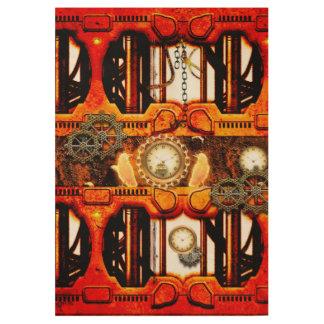 Steampunk red golden design wood poster