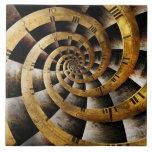 Steampunk - reloj - el flujo de tiempo azulejo cerámica