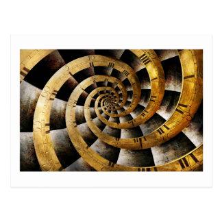 Steampunk - reloj - el flujo de tiempo tarjeta postal