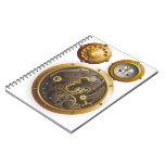 Steampunk reloj libro de apuntes con espiral