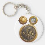 Steampunk reloj llavero redondo tipo pin