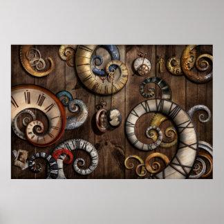 Steampunk - reloj - máquina de tiempo póster