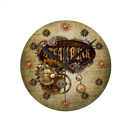 Steampunk Reloj Redondo Mediano