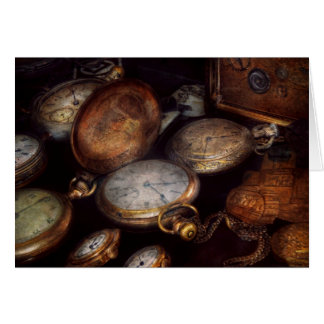 Steampunk - reloj - tiempo llevado felicitaciones