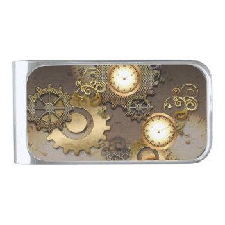Steampunk, relojes y engranajes clip para billetes plateado