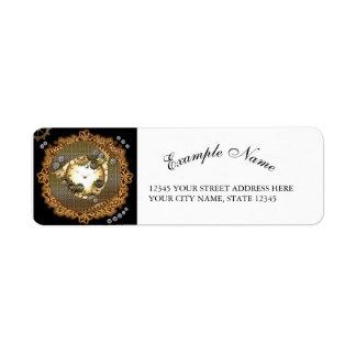 Steampunk, relojes y engranajes en colorsg de oro etiquetas de remite